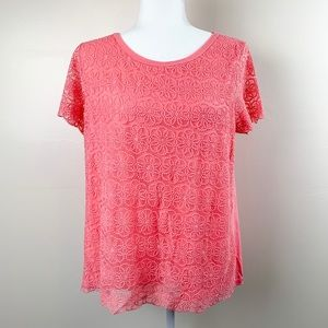 NWOT LC Lauren Conrad Large Pink Daisy Top